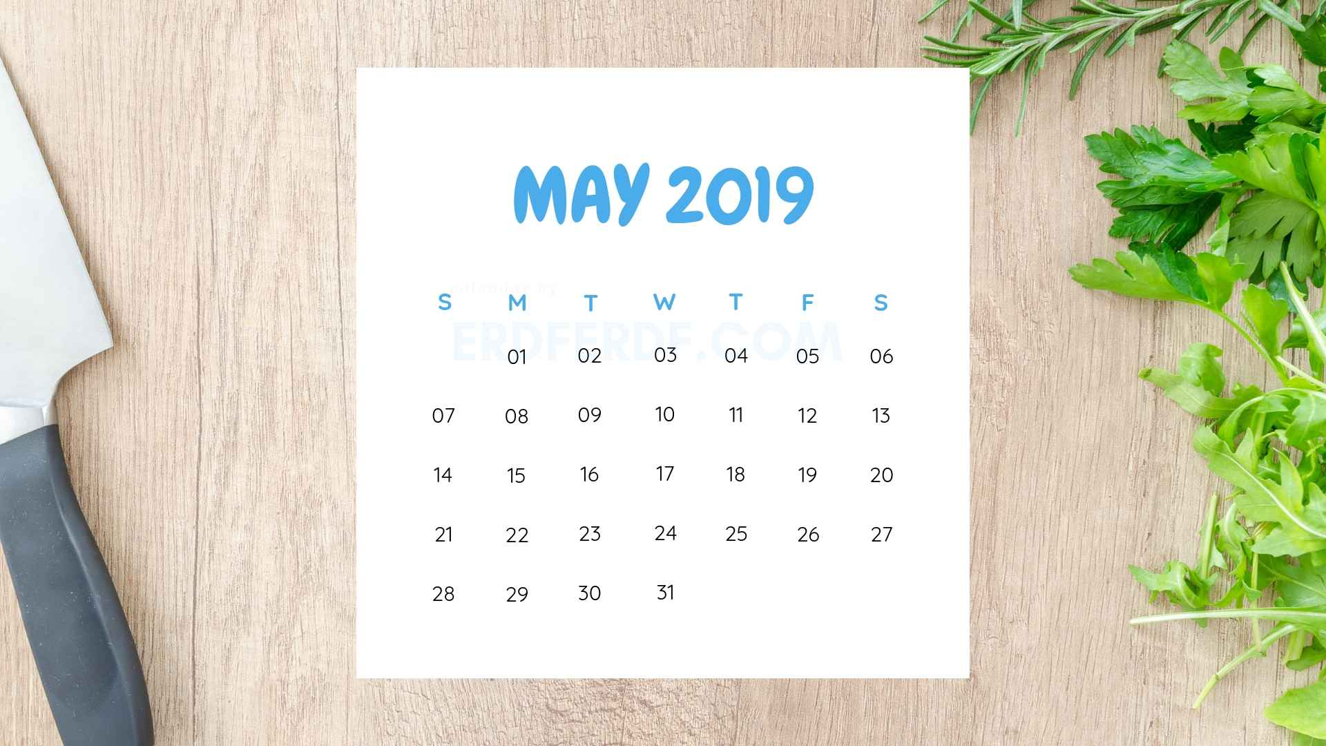 Printable May 2019 Calendar Template