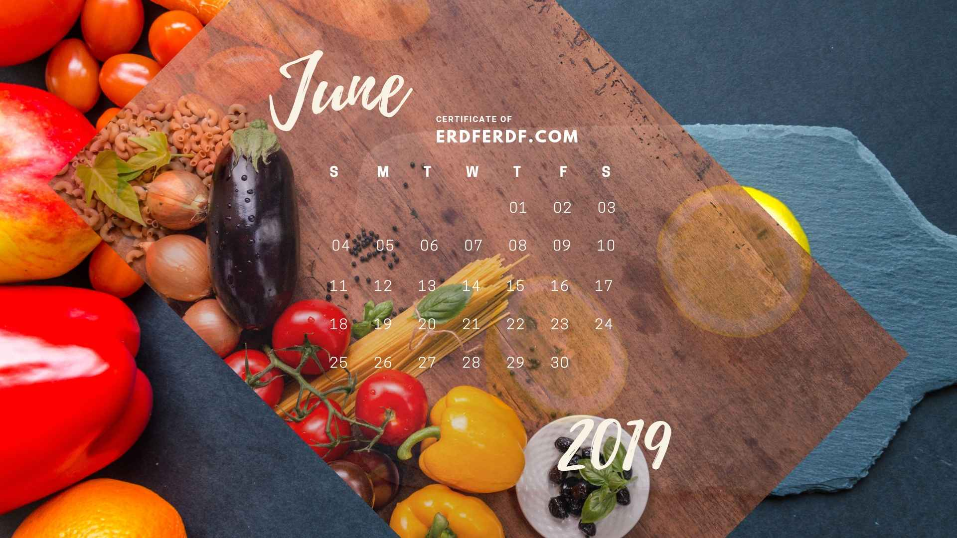 Six Calendar July 2019 Vegetable Template Printable