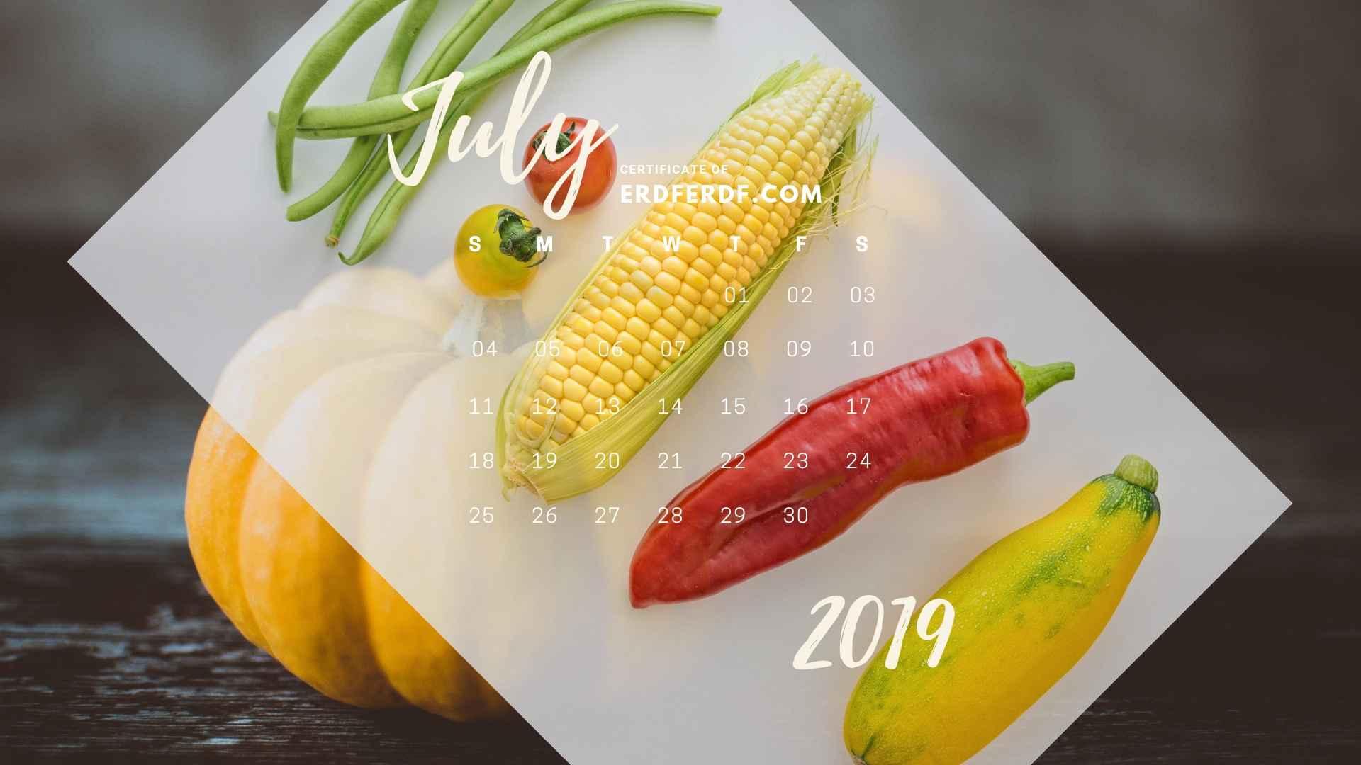 Six Calendar July 2019 Vegetable Template Printable 3
