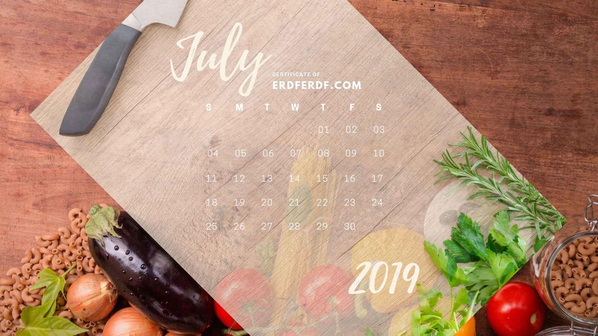 Six Calendar July 2019 Vegetable Template Printable 4