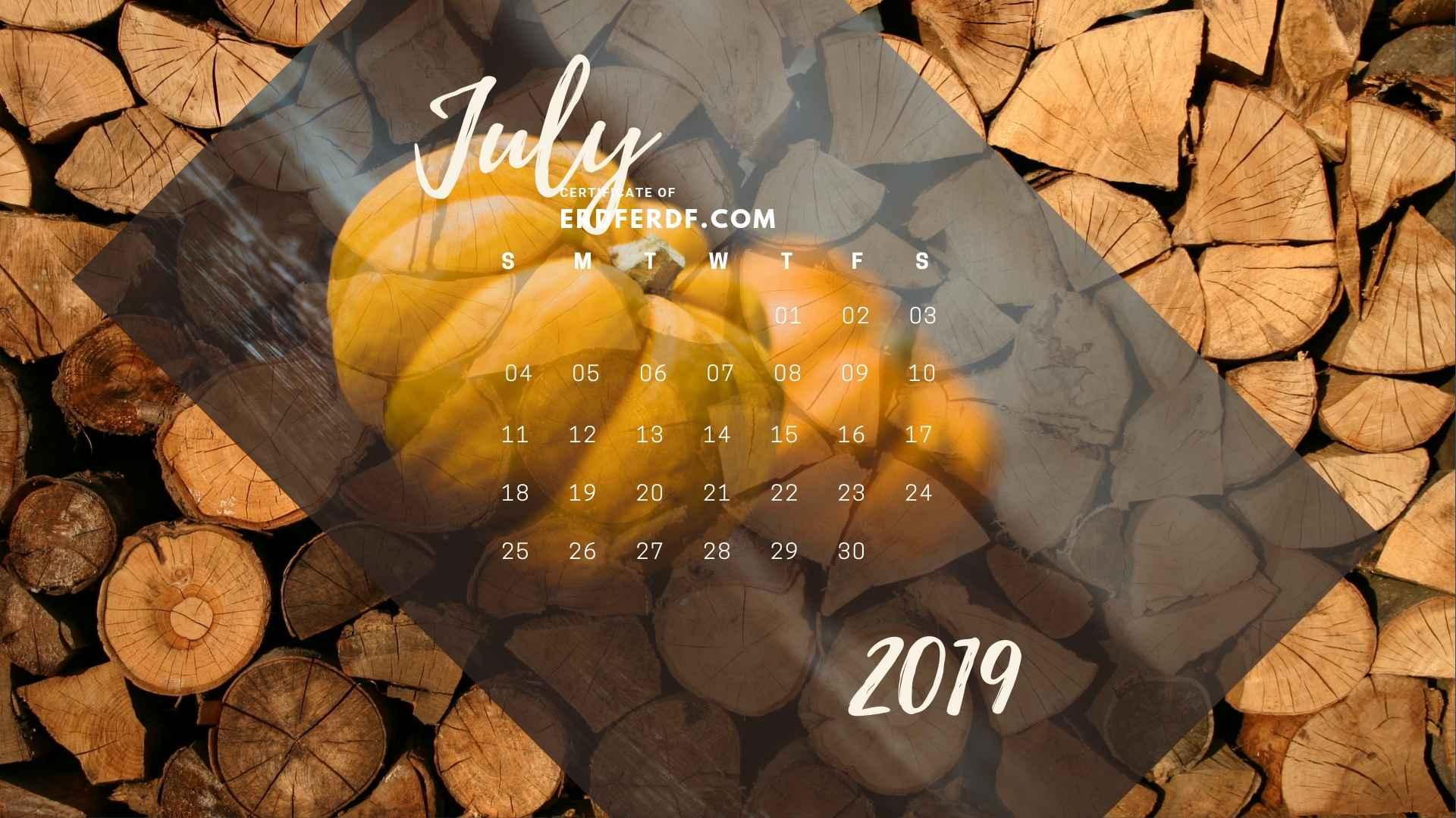 Six Calendar July 2019 Vegetable Template Printable 5