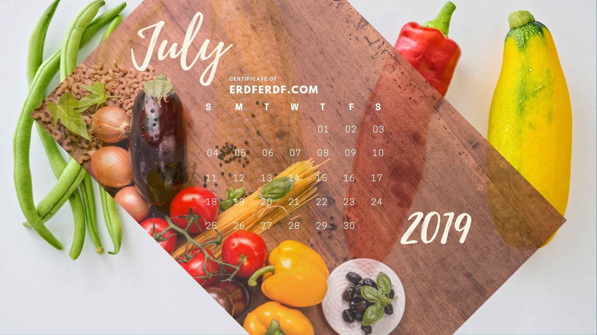 Six Calendar June 2019 Vegetable Template Printable 6