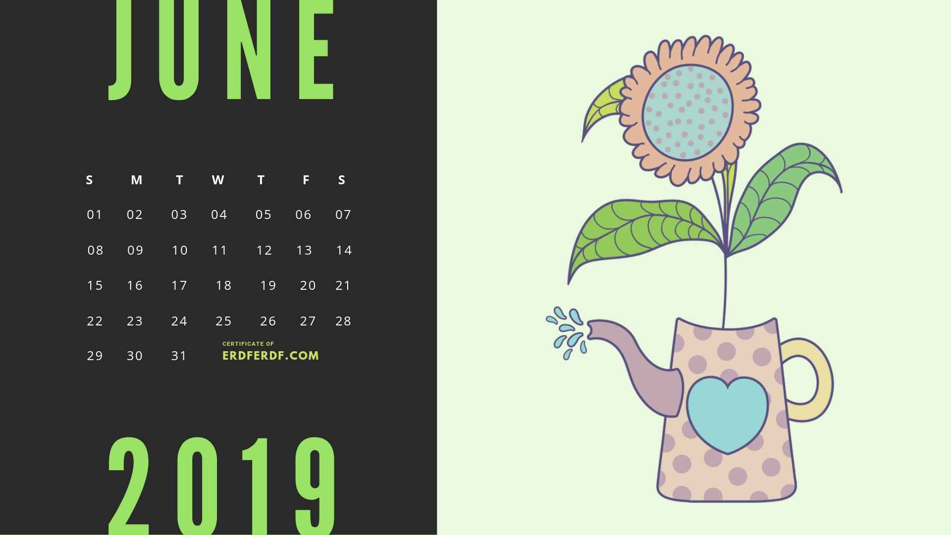 Six Calendar May 2019 Floral Vector Printable Free 2