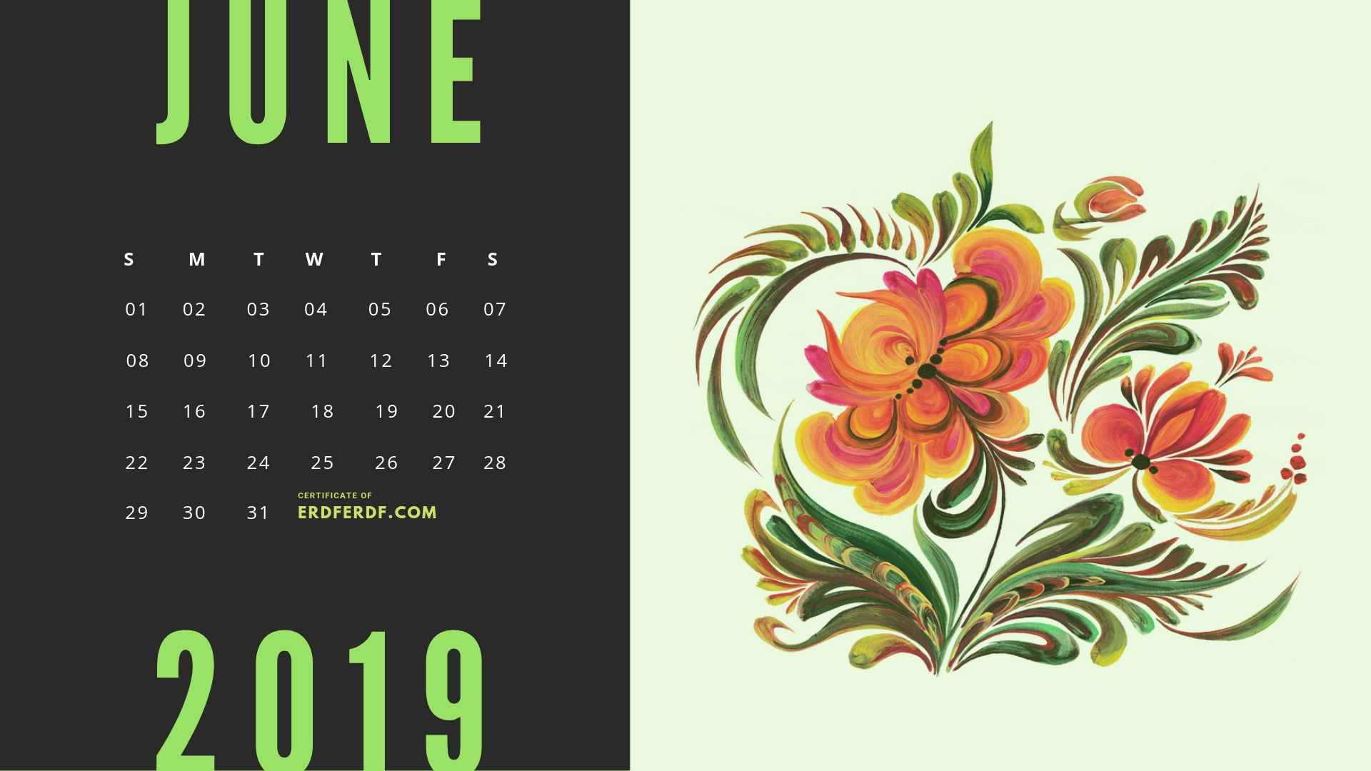 Six Calendar May 2019 Floral Vector Printable Free 4
