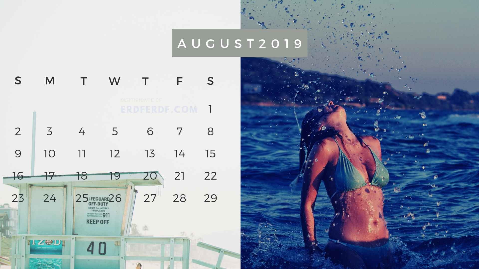 Ten Calendar August 2019 Summer Beach Printable Free