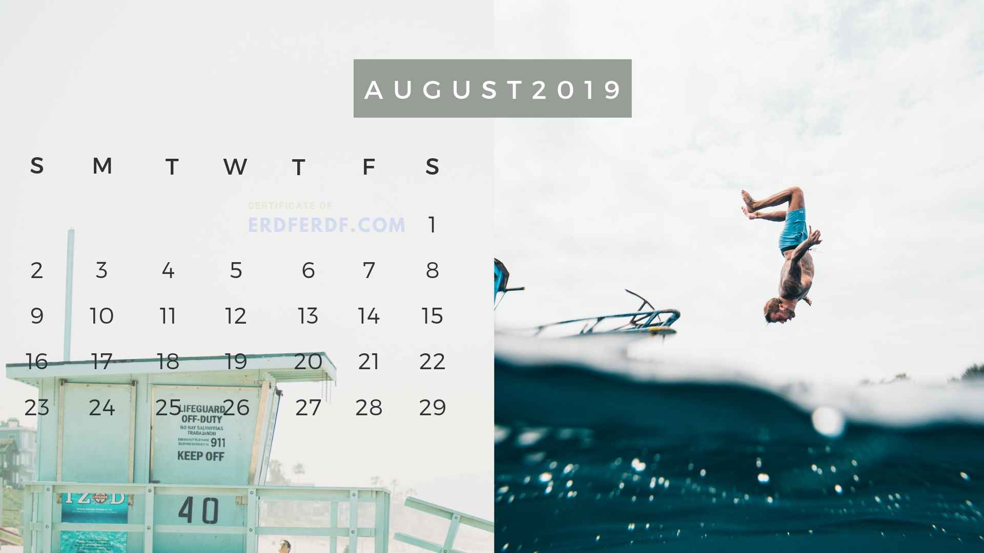 Ten Calendar August 2019 Summer Beach Printable Free 10
