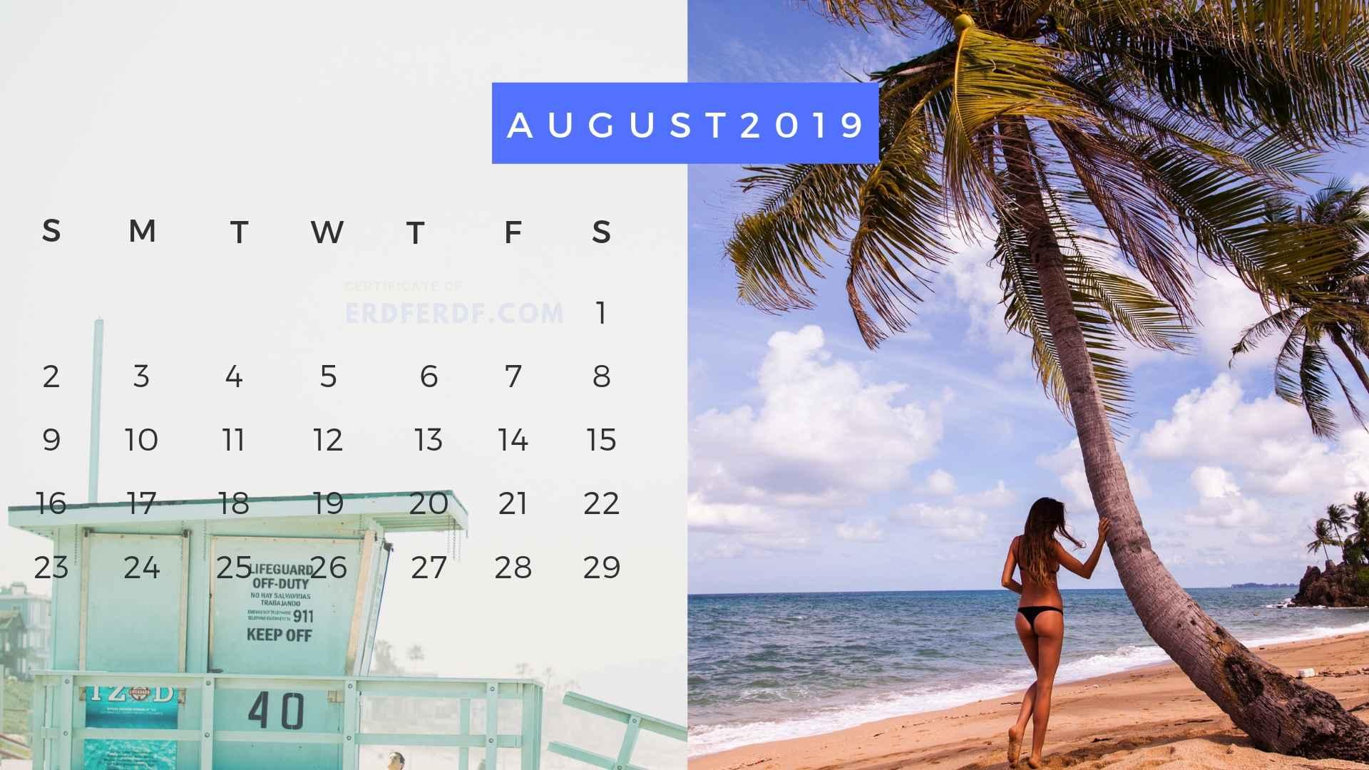 Ten Calendar August 2019 Summer Beach Printable Free 2