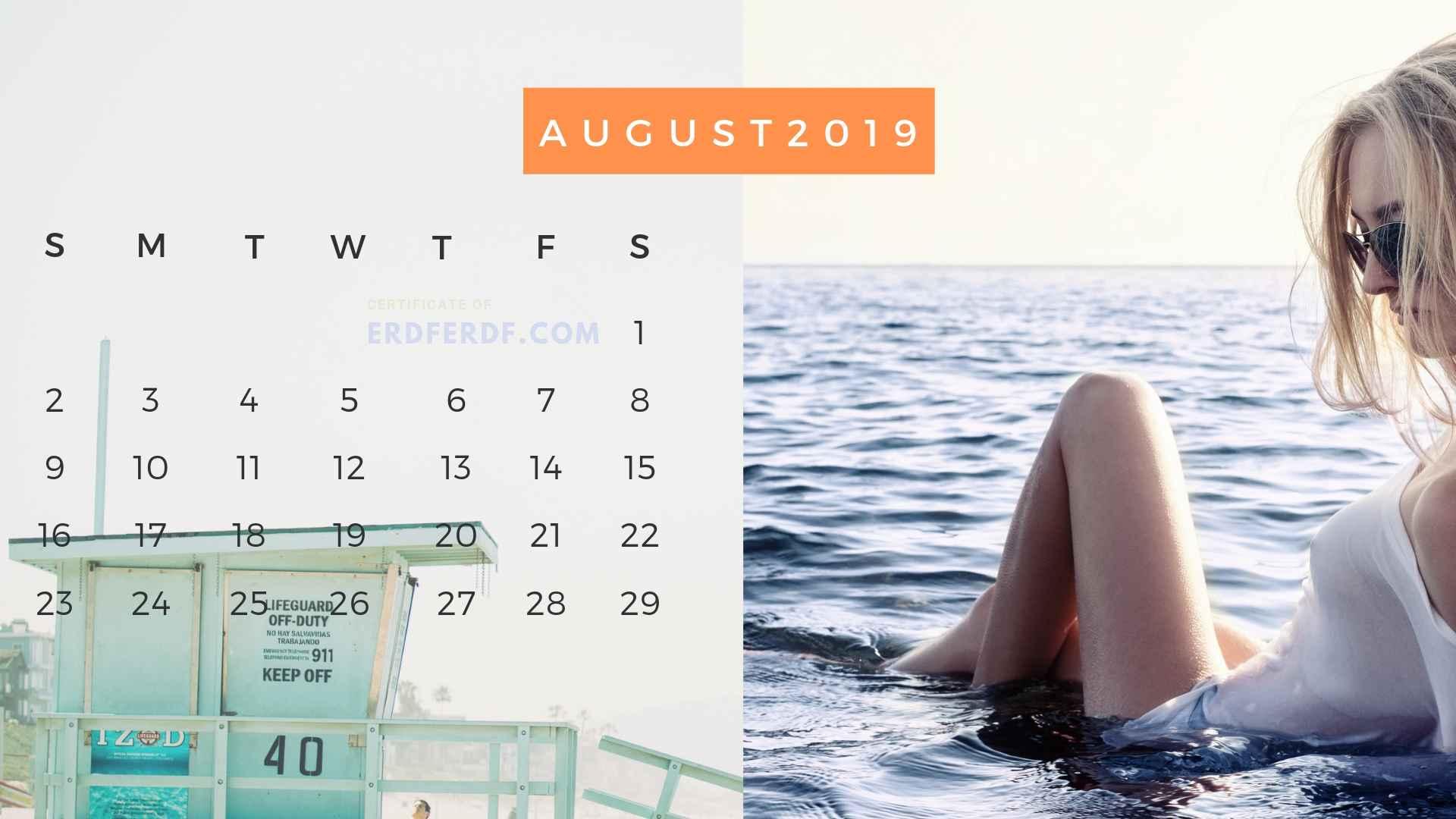 Ten Calendar August 2019 Summer Beach Printable Free 3