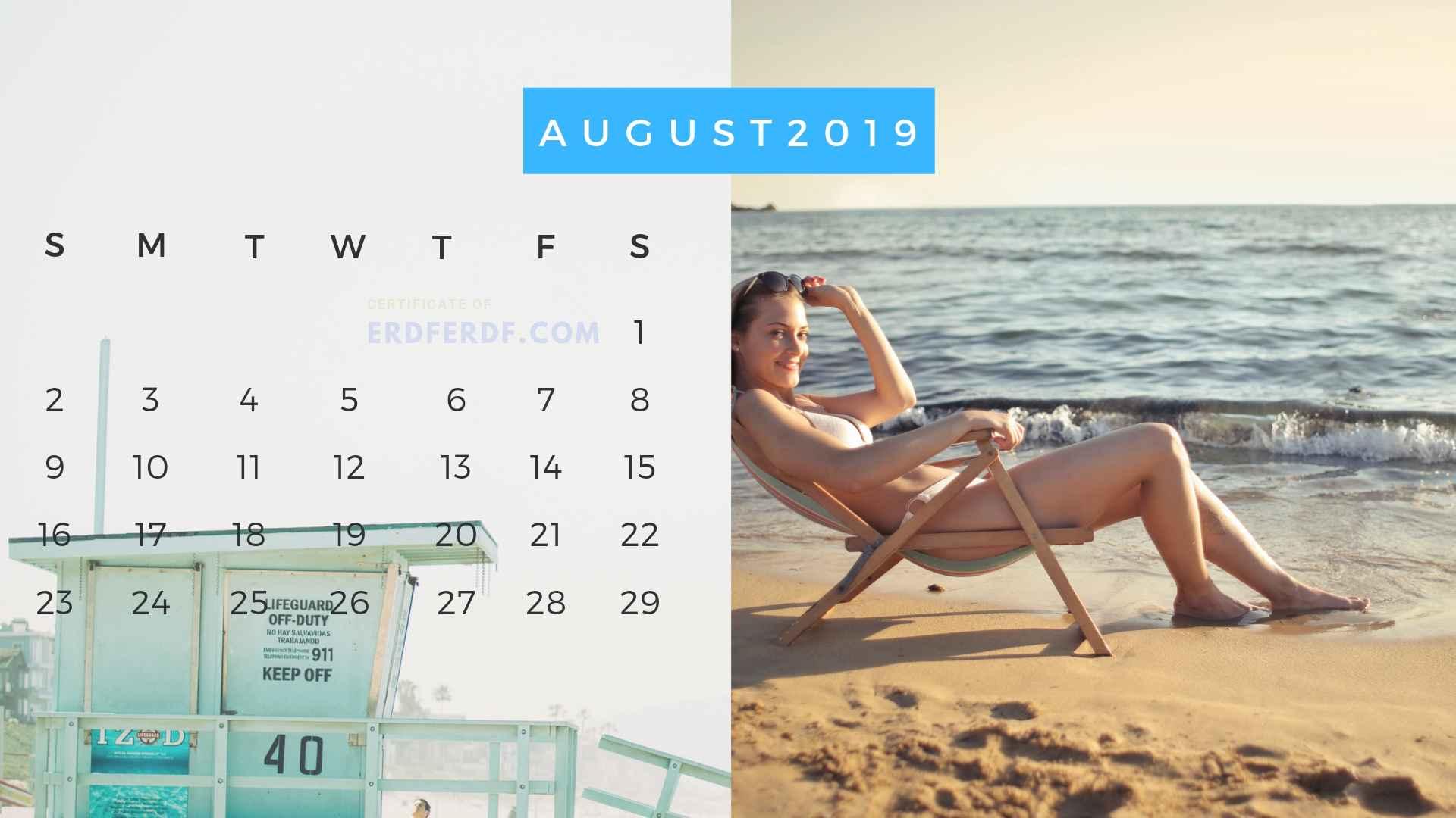 Ten Calendar August 2019 Summer Beach Printable Free 4