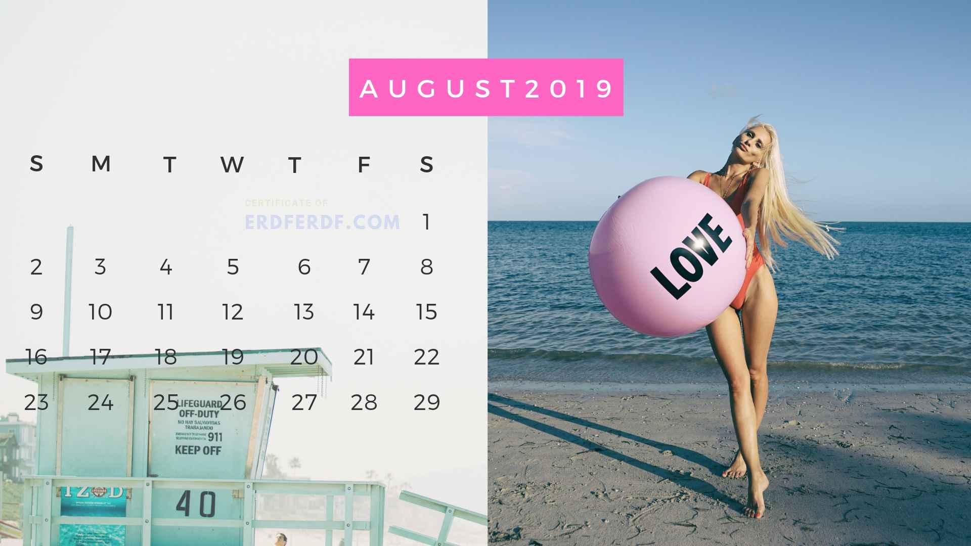 Ten Calendar August 2019 Summer Beach Printable Free 5