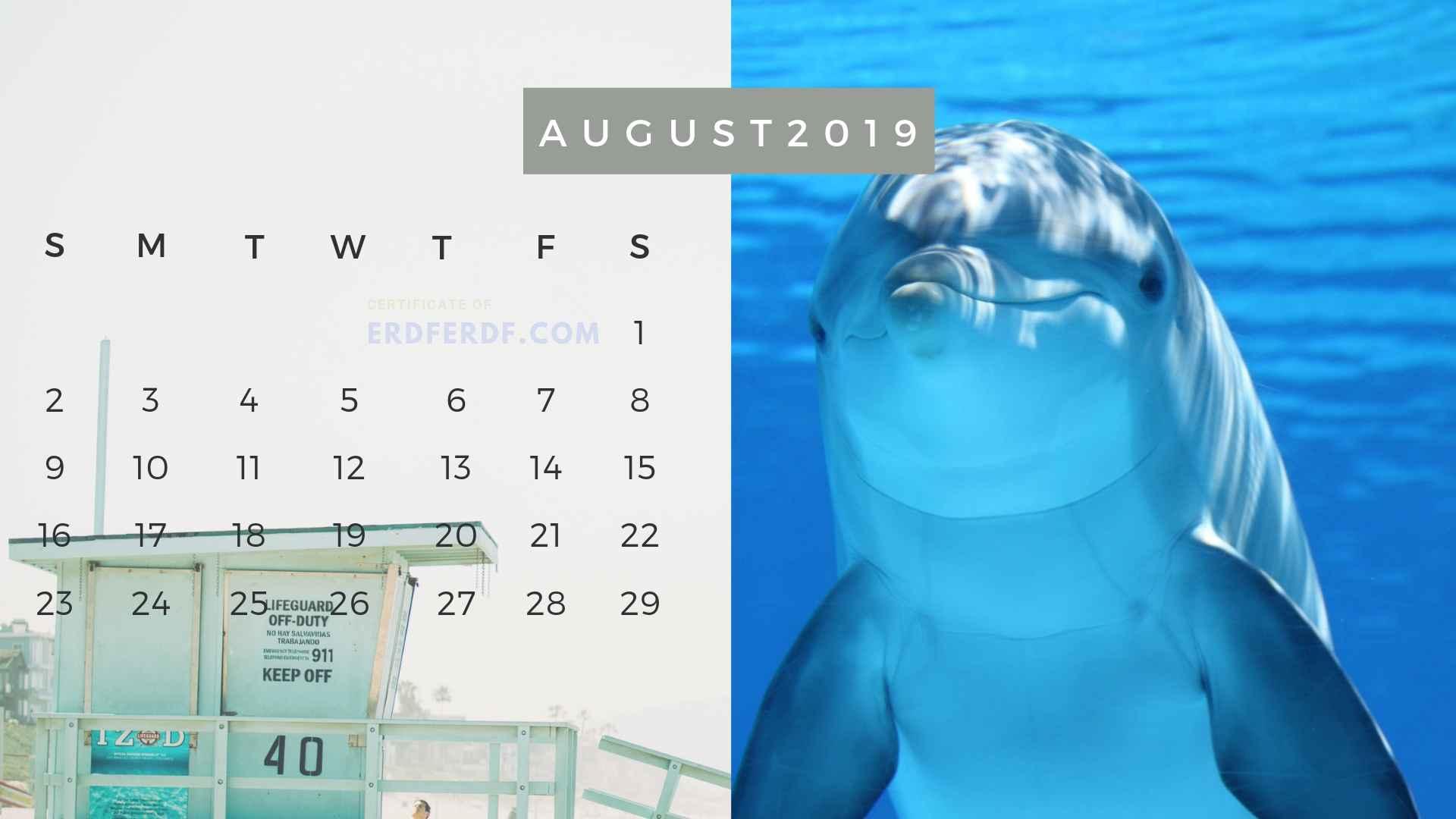 Ten Calendar August 2019 Summer Beach Printable Free 6