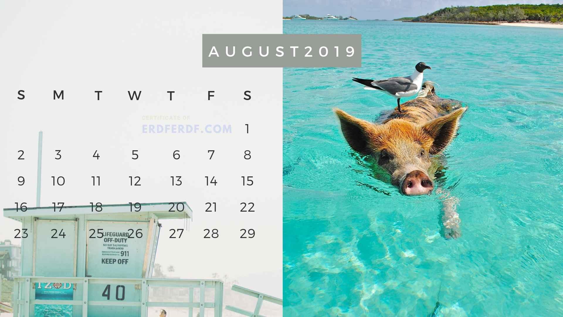 Ten Calendar August 2019 Summer Beach Printable Free 7