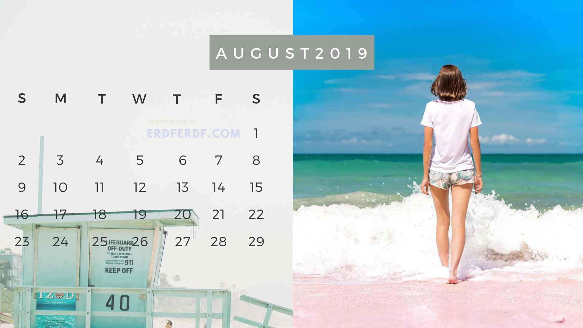 Ten Calendar August 2019 Summer Beach Printable Free 8