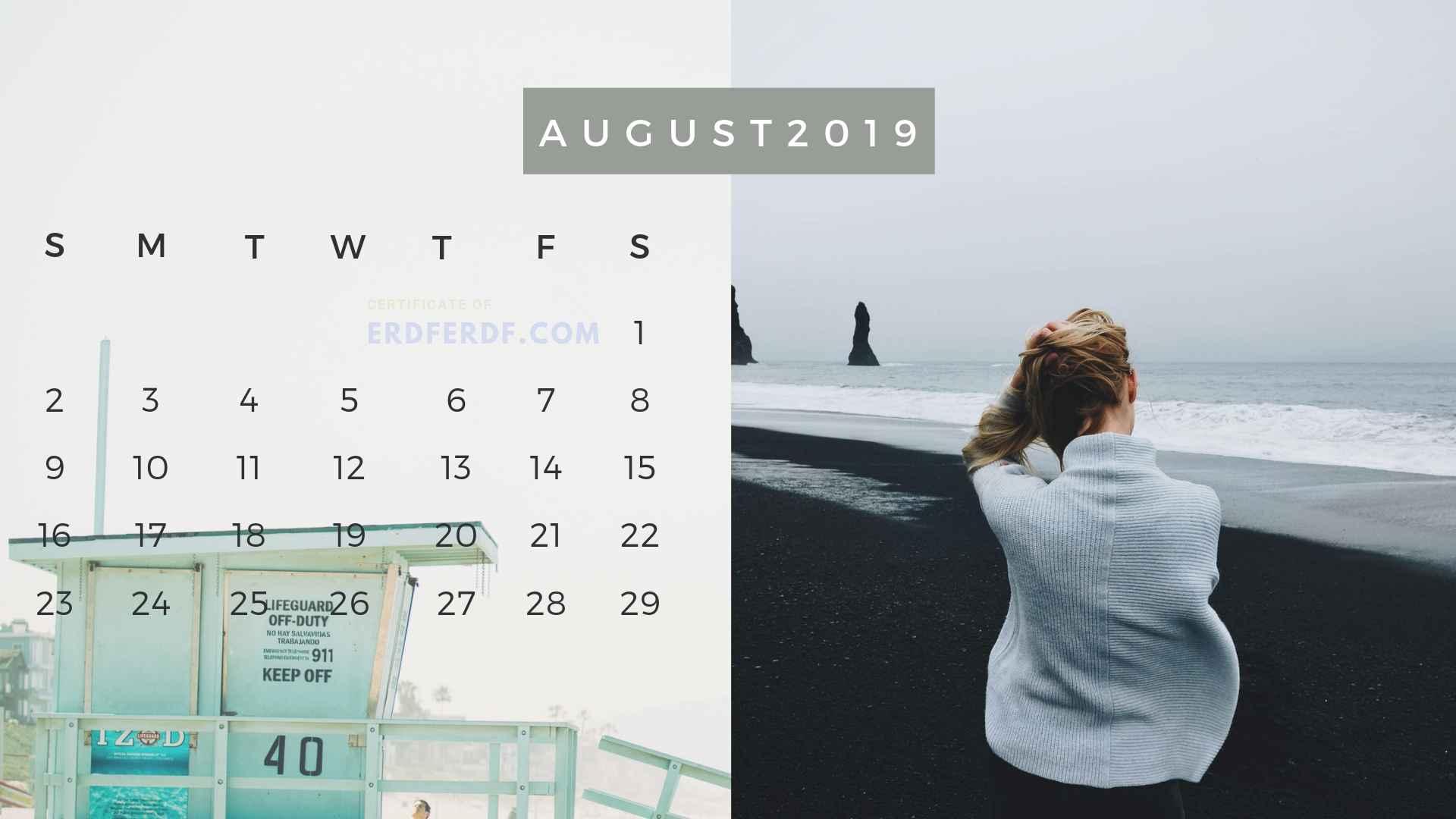 Ten Calendar August 2019 Summer Beach Printable Free 9