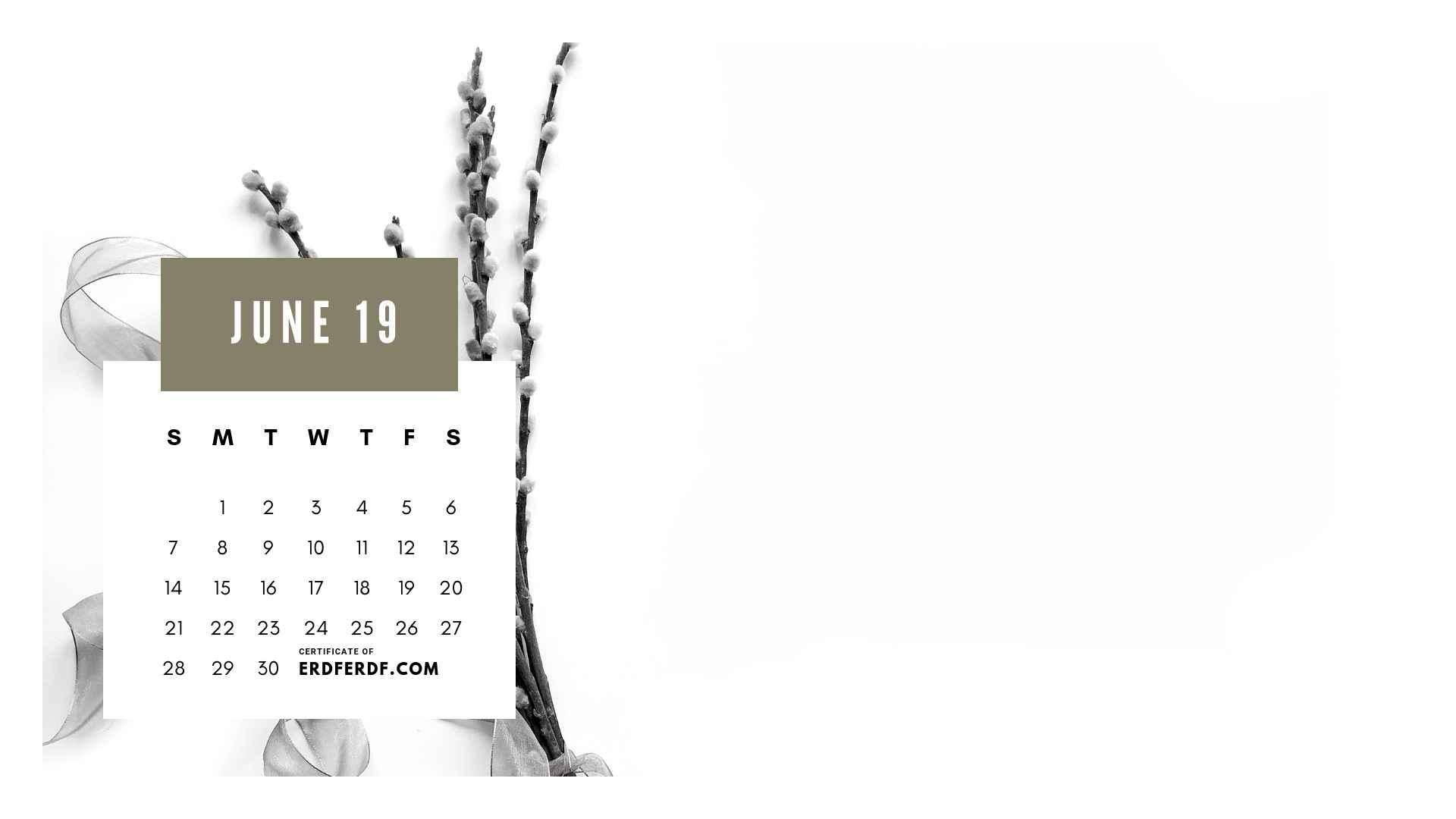 Ten Calendar June 2019 Spring Flower Template Printable 10