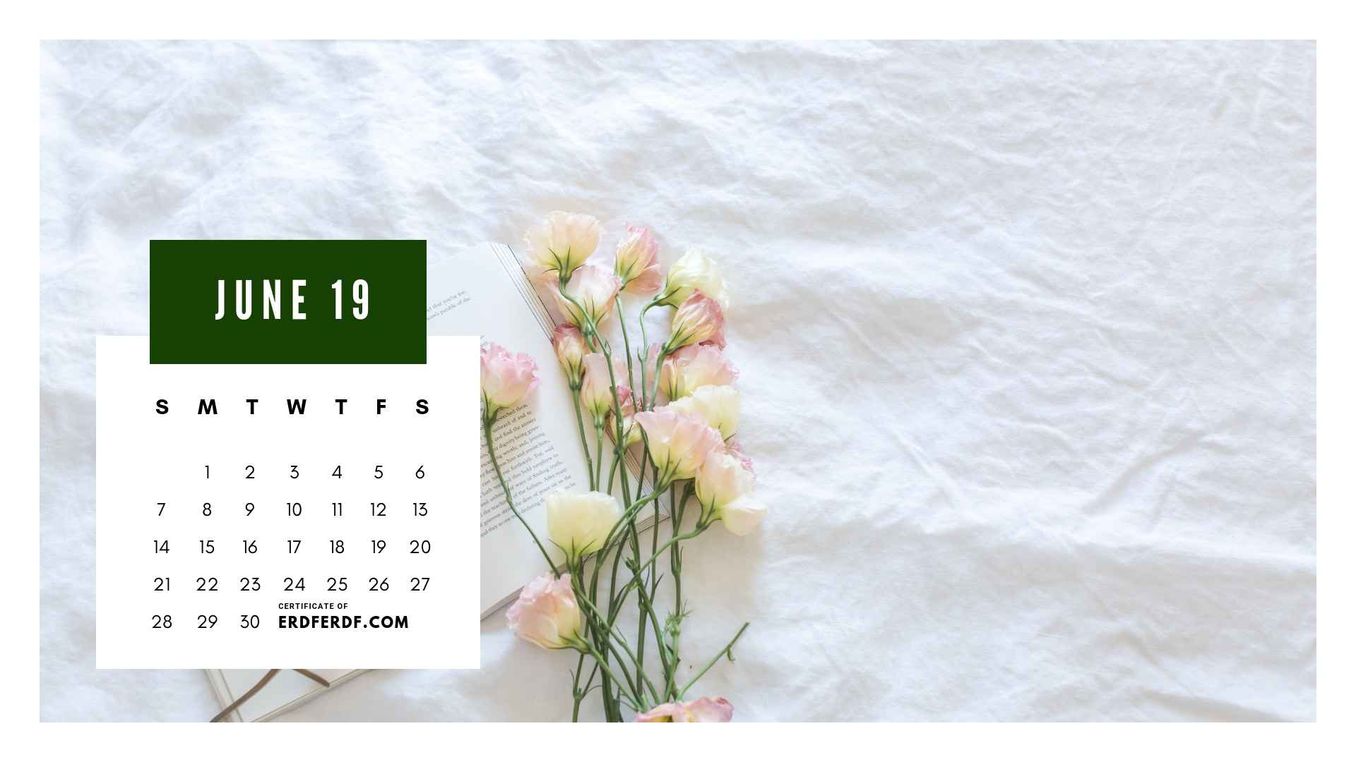 Ten Calendar June 2019 Spring Flower Template Printable 6