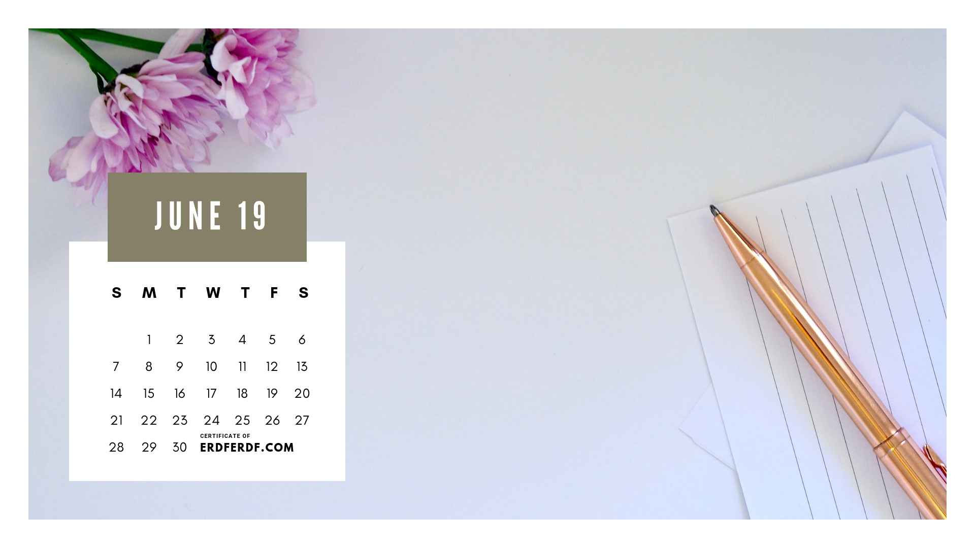 Ten Calendar June 2019 Spring Flower Template Printable 7