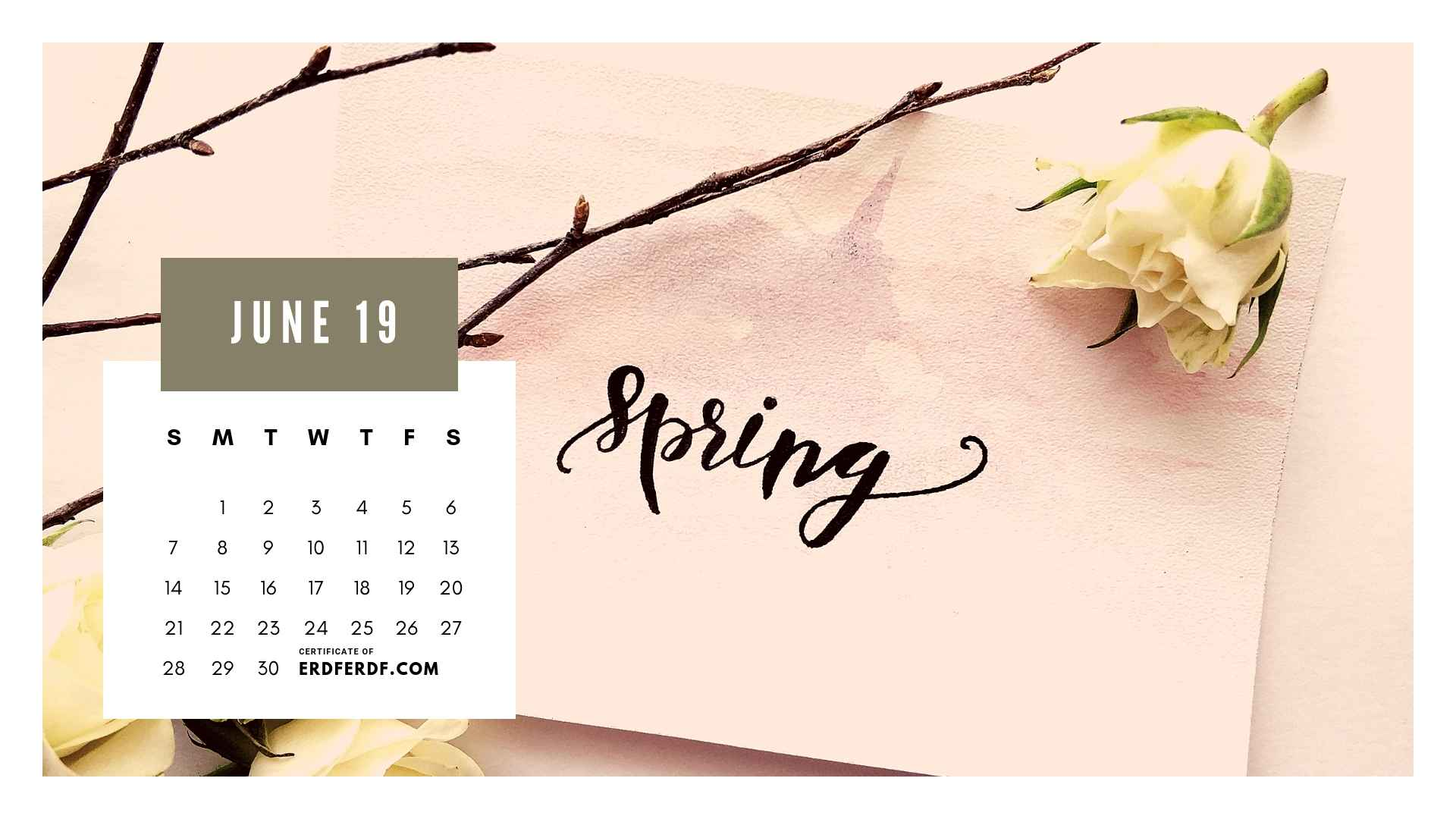Ten Calendar June 2019 Spring Flower Template Printable 8