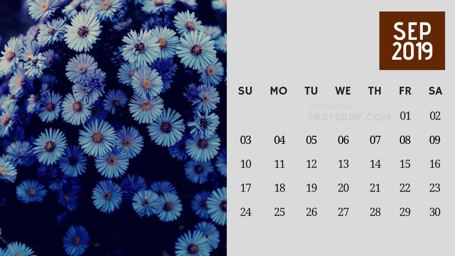 Ten Calendar September 2019 Winter Template USA Printable 10
