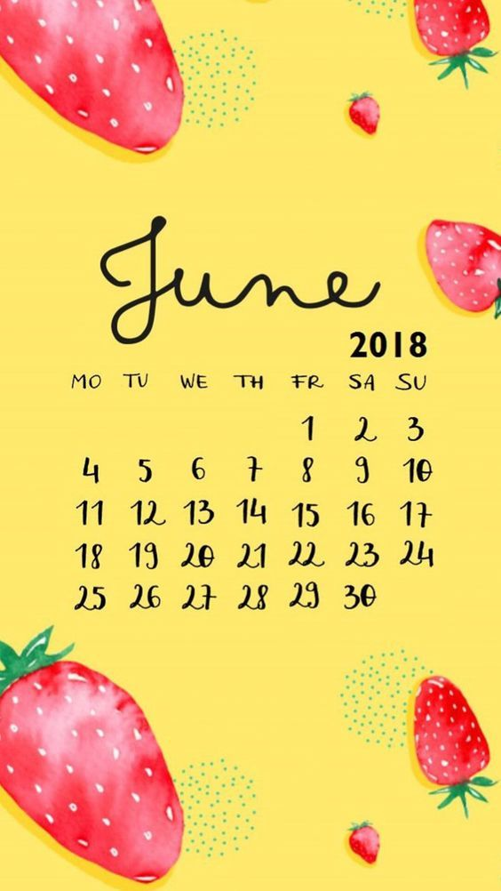 Strawberry Cute June Iphone Calendar Wallpaper