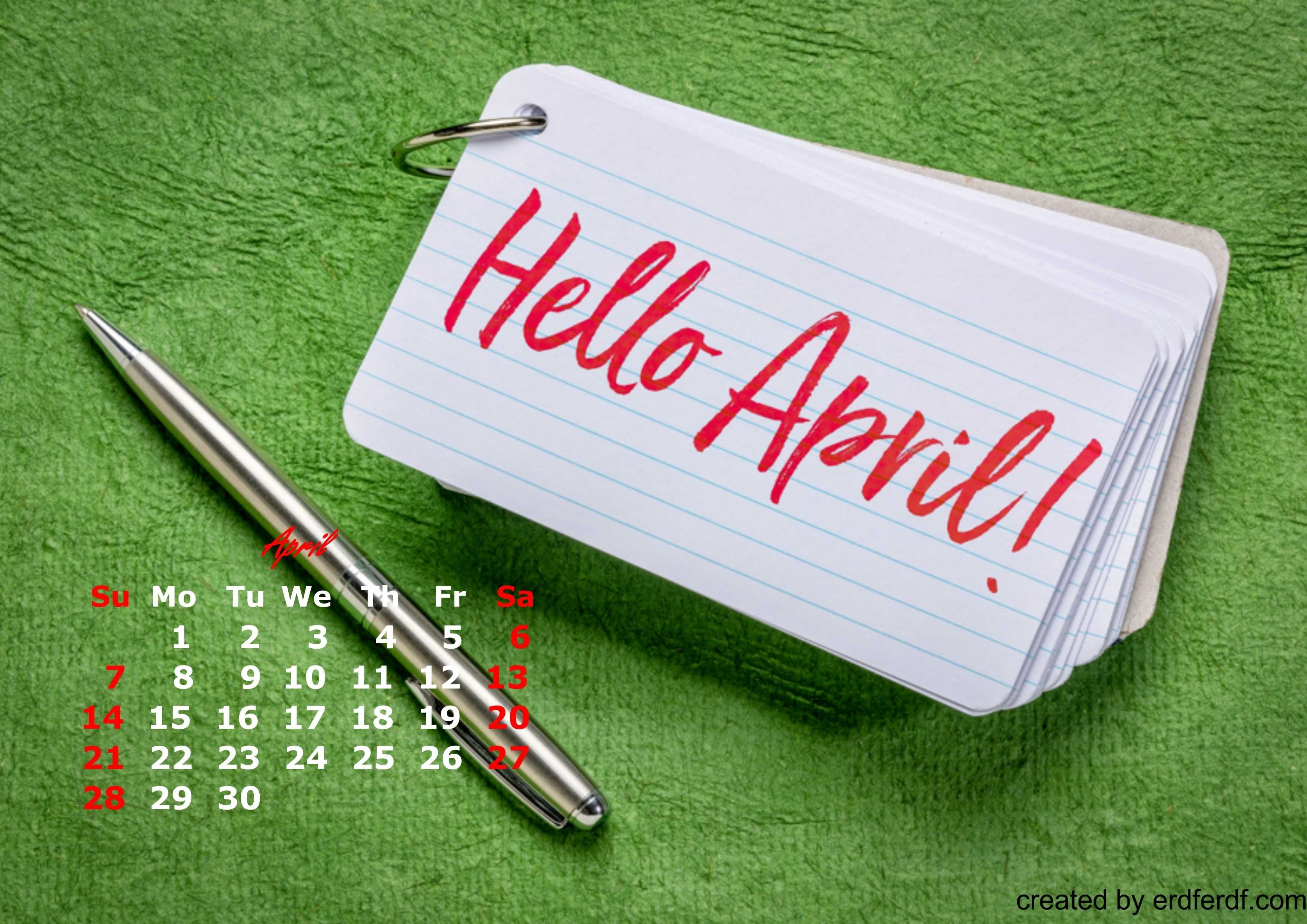 Hello Welcome April Calendar Wallpaper