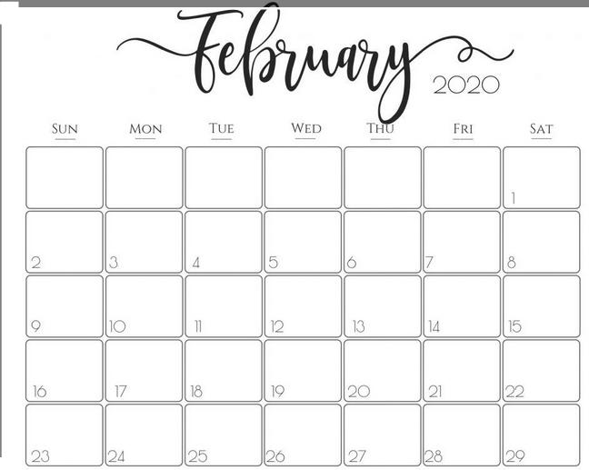 Best February 2020 Calendar
