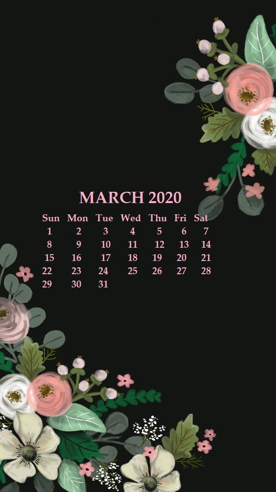 Black iPhone March 2020 Calendar Wallpaper