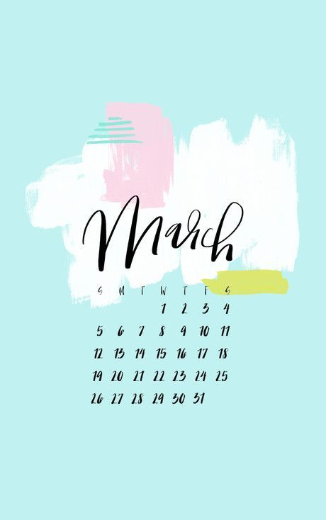 Blue Background Iphone March 2020 Calendar