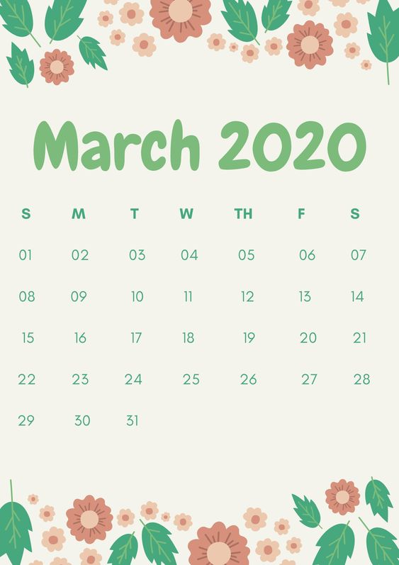 Cute 2020 Floral Printable Monthly Calendar