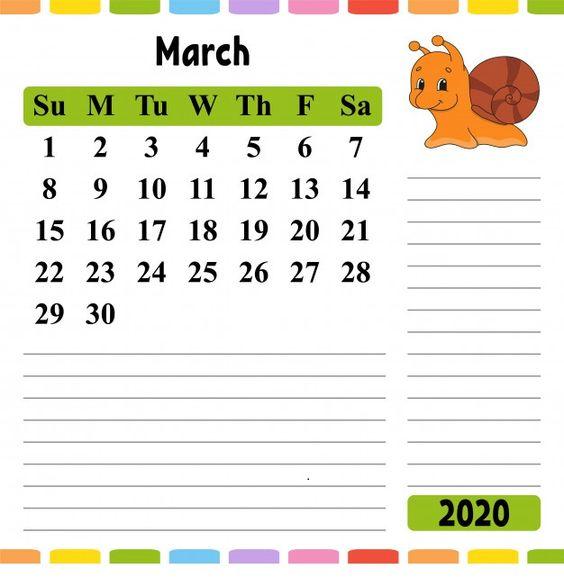 Cute Colorful March 2020 Calendar