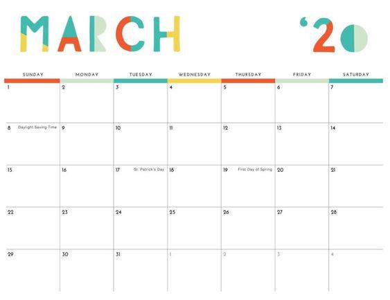 Cute March 2020 Calendars Colouring