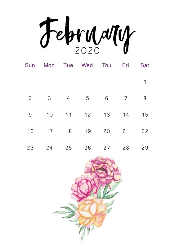 February 2020 Printable Calendar Iphone Background