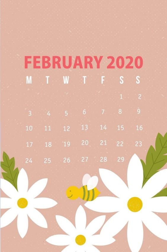 Flower February 2020 Calendar iPhone Wallpaper Background