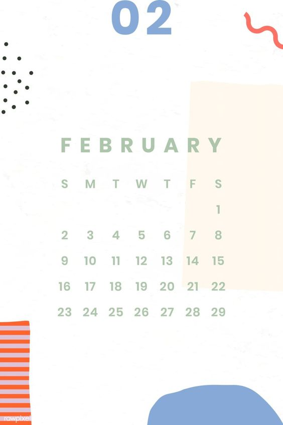 Free February 2020 Calendars Simple Iphone Wallpaper