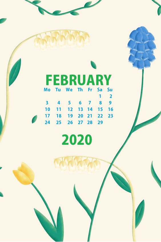 Green February 2020 iPhone Calendar