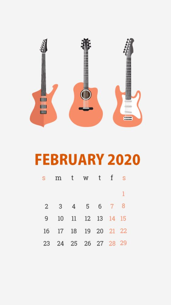 Guiter Calendar February 2020 Wallpaper