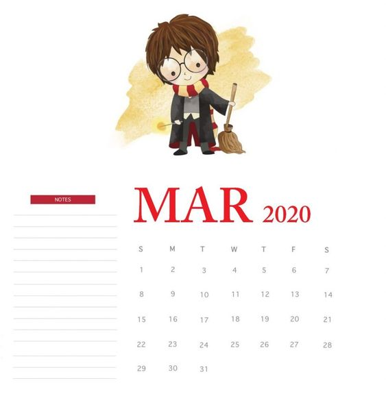 Harry Poter Cute Calendar March 2020