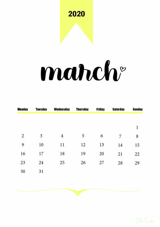 March 2020 Calendar Wallpaper Cute and Colorful