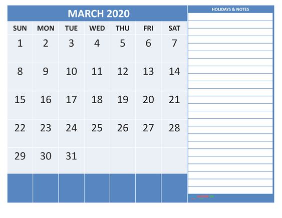 March 2020 Fillable Template with Blank Notes