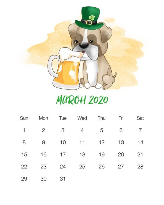 Printable March 2020 Cute Dog Calendar