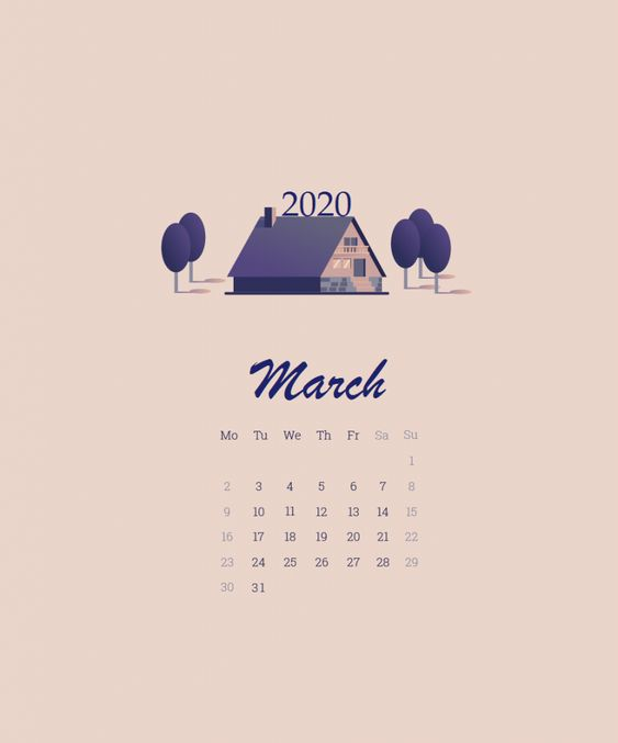 Simple iPhone March 2020 Wallpaper Calendar