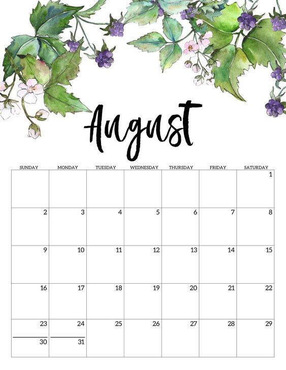 10 2020 Free Calendar Floral Cute August