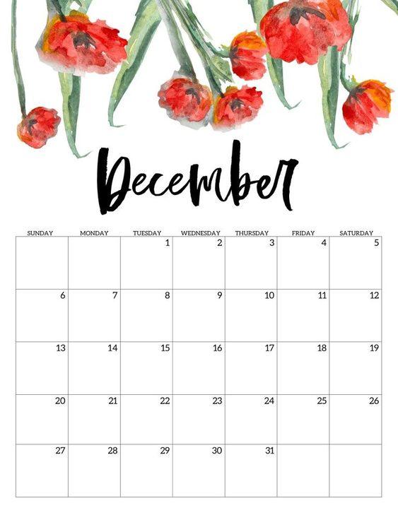 10 2020 Free Calendar Floral Cute December