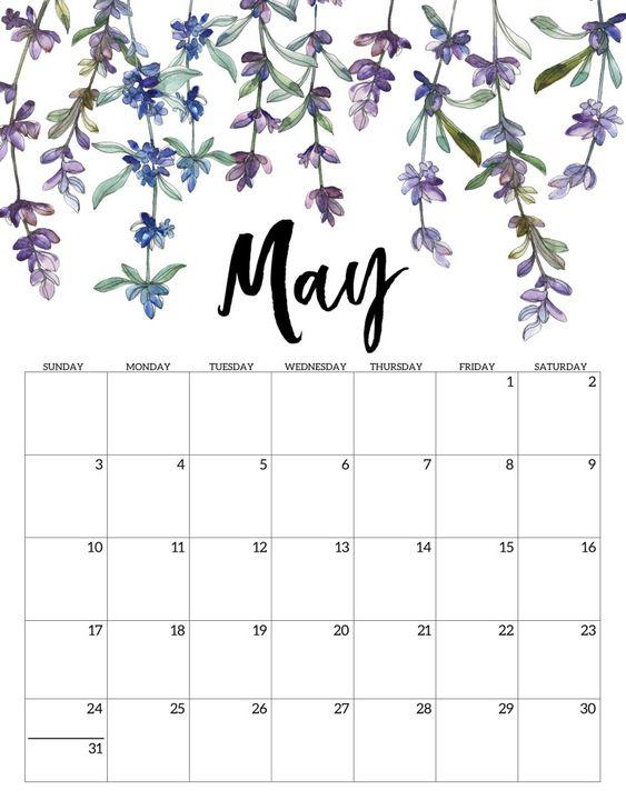 10 2020 Free Calendar Floral Cute May