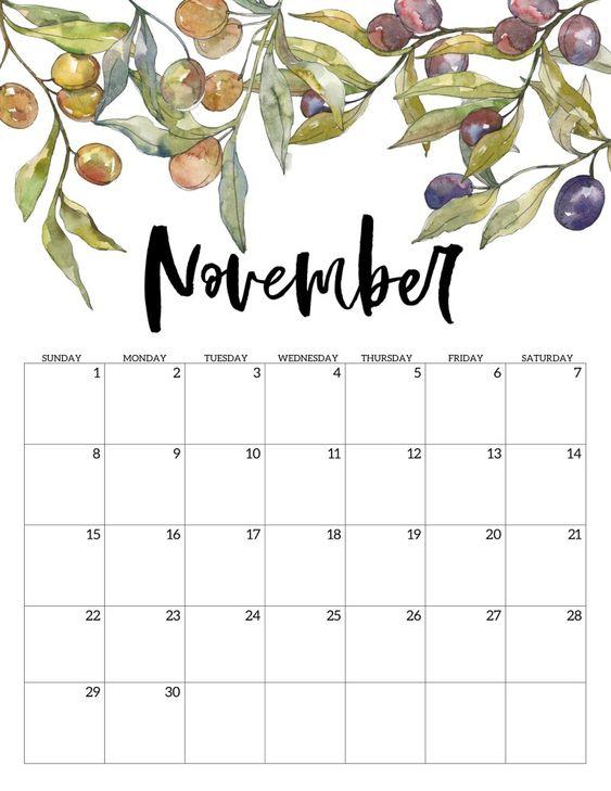 10 2020 Free Calendar Floral Cute November