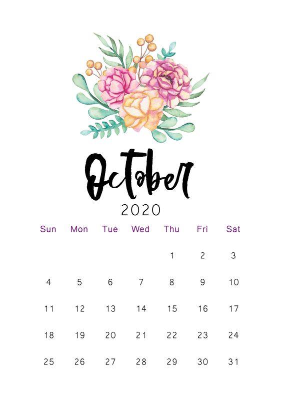 10 + 2020 Free Calendar Floral Cute