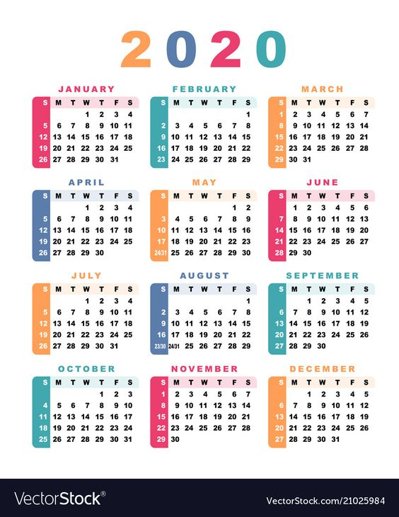 Free 2020 Watercolor Calendar Art Coloring