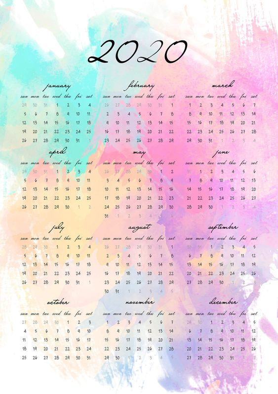 Free 2020 Watercolor Calendar Art Elegant