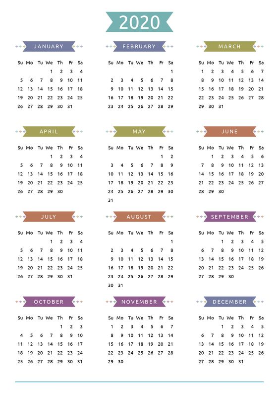 Free 2020 Watercolor Calendar Art Printable Casual Style