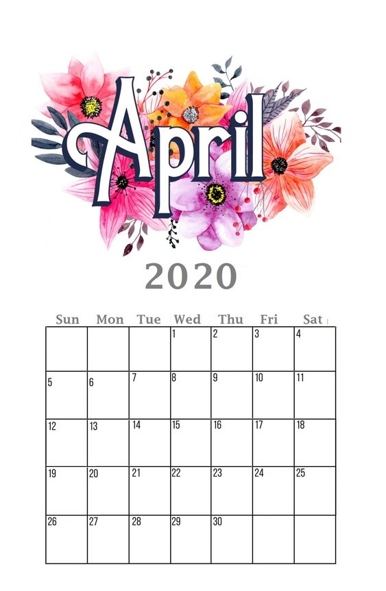 April 2020 Calendar Flower Watercolor Example Ideas